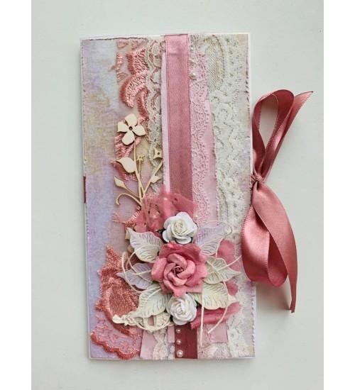 Rahataskuga õnnitluskaart roosa