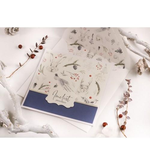 """Jõulukaart Metsloomade ja Tekstiga """"Imelist jõuluaega!"""" (Sinine)"""