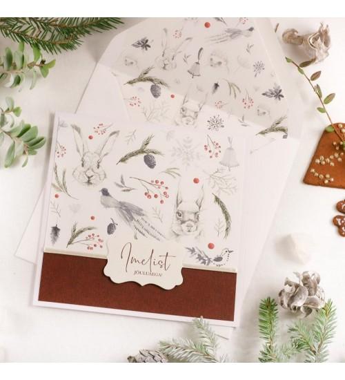"""Jõulukaart Metsloomade ja Tekstiga """"Imelist jõuluaega!"""" (Punane)"""