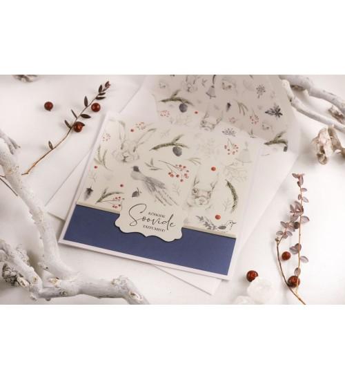 """Jõulukaart Metsloomade ja Tekstiga """"Kõikide soovide täitumist!"""" (Sinine)"""