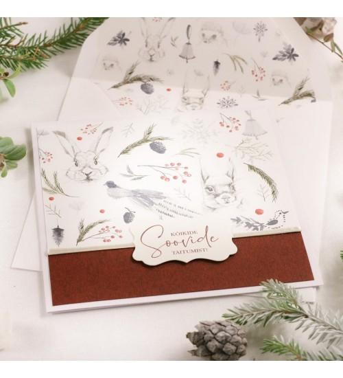 """Jõulukaart Metsloomade ja Tekstiga """"Kõikide soovide täitumist!"""" (Punane)"""