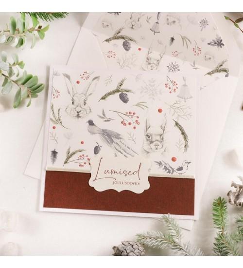 """Jõulukaart Metsloomade ja Tekstiga """"Lumised jõulusoovid!"""" (Punane)"""
