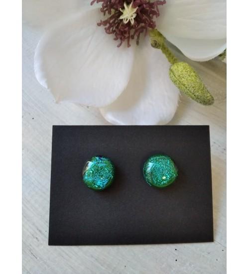 Sulatatud klaasist kõrvarõngad, särav roheline