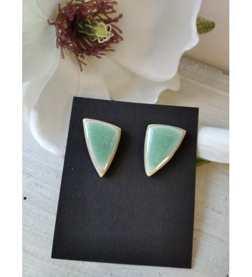 Portselanist kolmnurksed kõrvarõngad, roheline