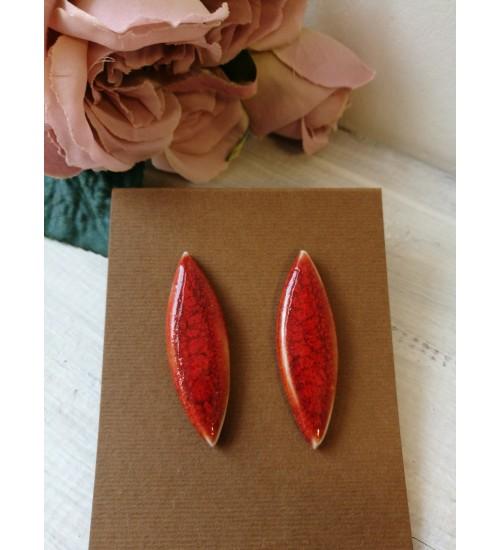 Portselanist piklikud kõrvarõngad, punane