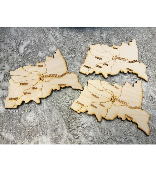 """Puidust  magnet """"Tartu maakond"""""""