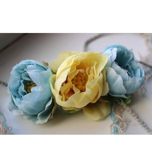 Peapärg siniste ja kollase lillega