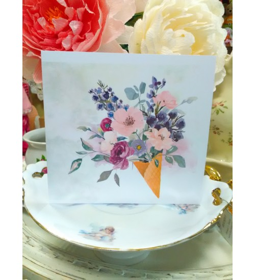Romantiline õnnitluskaart lillelise pildiga