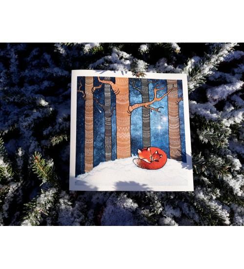 """Õnnitluskaart """"Tudirebased talvises metsas"""""""
