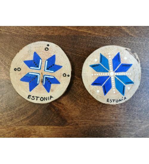 """Puidule maalitud kaheksakand pildiga magnet """"Estonia"""""""