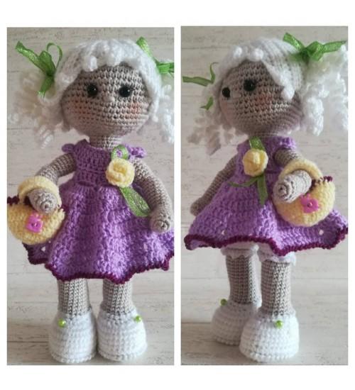 Heegeldatud nukk, sirelilillas kleidis