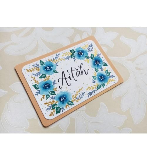 """Akvarelljoonistusega postkaart """"Aitäh"""""""