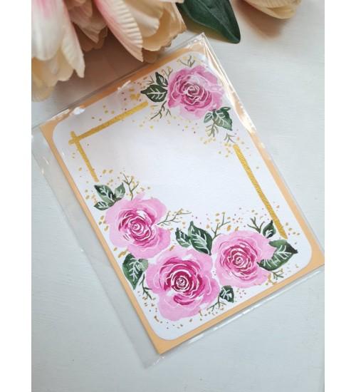 """Akvarelljoonistusega õnnitluskaart """"Roosa roos"""""""