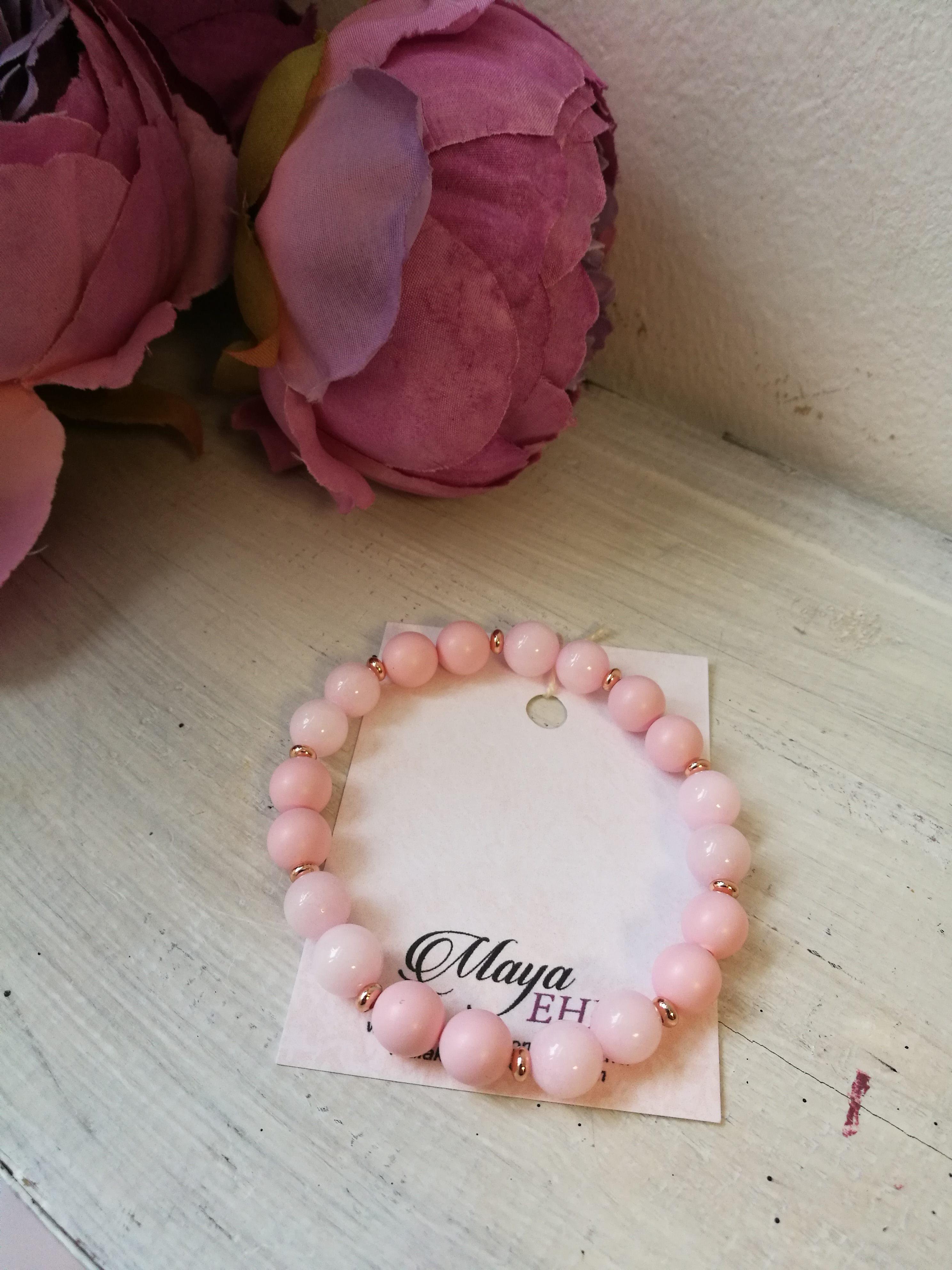 b59937abb1e Käeehe roosa jadeiidi ja swarovski pärlitega. Lisa ostukorvi